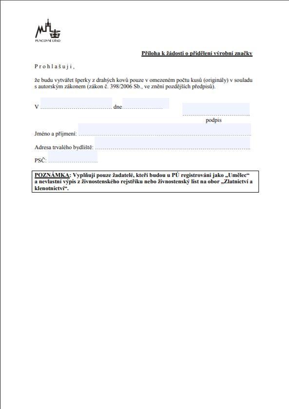 Příloha k přidělení výrobní značky (umělci) – Puncovní úřad