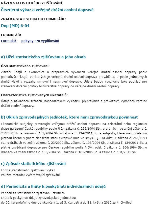 Čtvrtletní výkaz o veřejné drážní osobní dopravě Dop (MD) 6-04 statistika