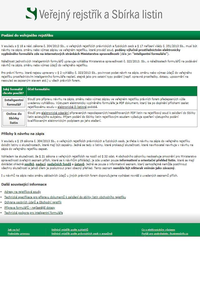 Formuláře na podávání návrhů na zápis, změnu nebo výmaz údajů ve Veřejném rejstříku