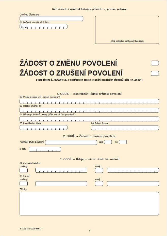 Žádost o změnu údajů uvedených v povoleních / Žádost o zrušení povolení