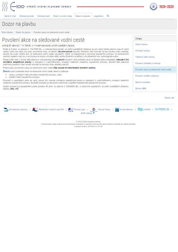 Žádost o povolení akce na sledované vodní cestě (SPS)