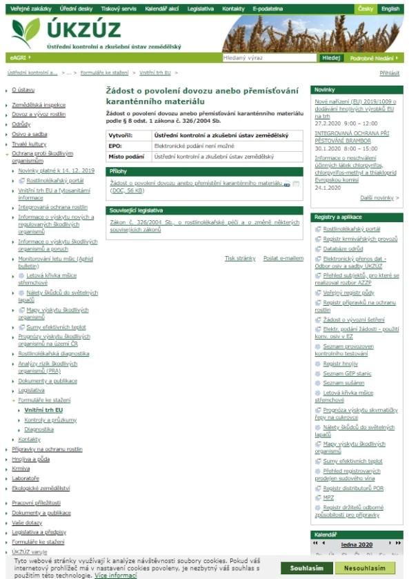 Žádost o povolení dovozu nebo přemístění karanténního materiálu (rostliny, rostlinné produkty) – Ministerstvo zemědělství (MZe)