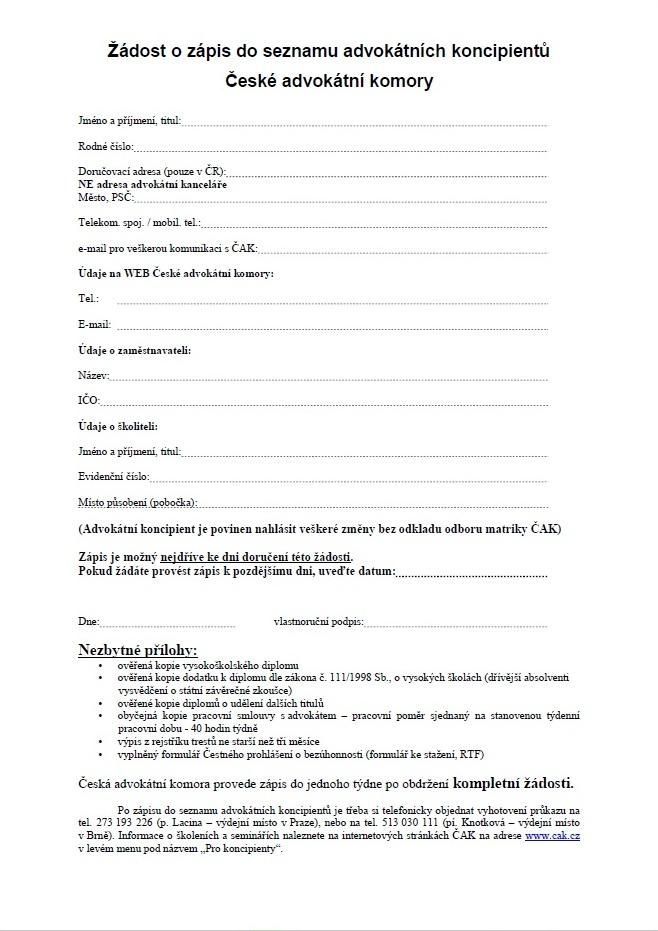 Žádost o zápis do seznamu advokátních koncipientů – Česká advokátní komora