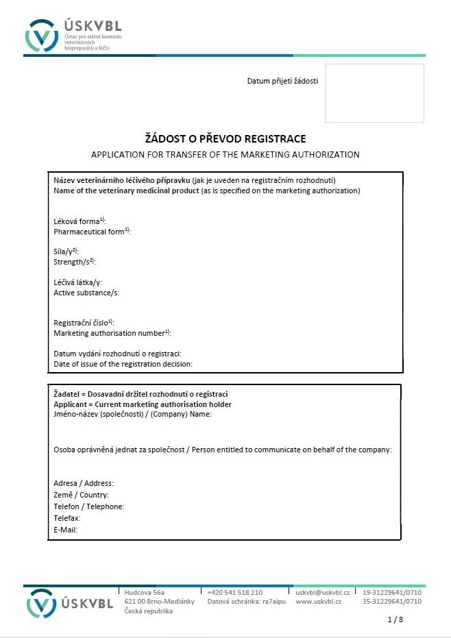 Žádost o převod registrace veterinárního léčivého přípravku – Ústav pro státní kontrolu veterinárních biopreparátů a léčiv (ÚSKVBL)