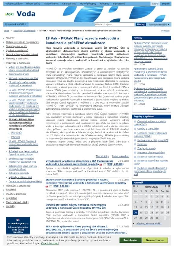 Tabulková část k popisům systémů vodovodů a kanalizací obce – Ministerstvo zemědělství (MZe)