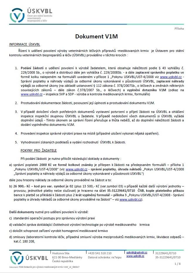 Dotazník výrobce léčivých přípravků – medikovaných krmiv – Ústav pro státní kontrolu veterinárních biopreparátů a léčiv (ÚSKVBL)