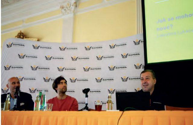 Na konferenci vystoupilo 10 řečníků. Od Kofoly přes Red Bull až po Philip Morris. Na snímku (zleva) jsou moderátor konference Miloš Křepelka (Hospodářská komora ČR), Adam Marčan (Naučmese.cz) a Pavel Barták (SAP ČR).