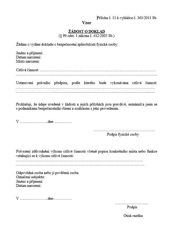 Žádost o vydání dokladu o bezpečnostní způsobilosti (citlivá činnost) – Národní bezpečnostní úřad (NBÚ)