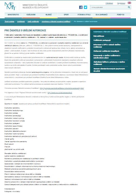 Žádost o udělení autorizace právnické osobě (MŠMT)