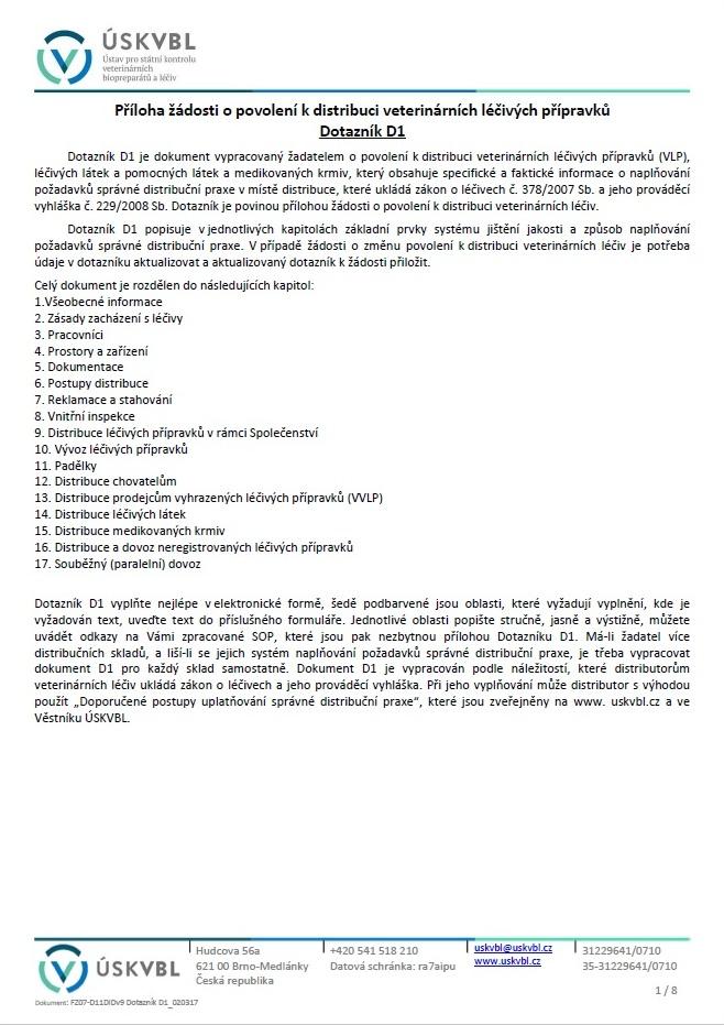 Dotazník pro doložení splnění podmínek správné distribuční praxe – Ústav pro státní kontrolu veterinárních biopreparátů a léčiv (ÚSKVBL)