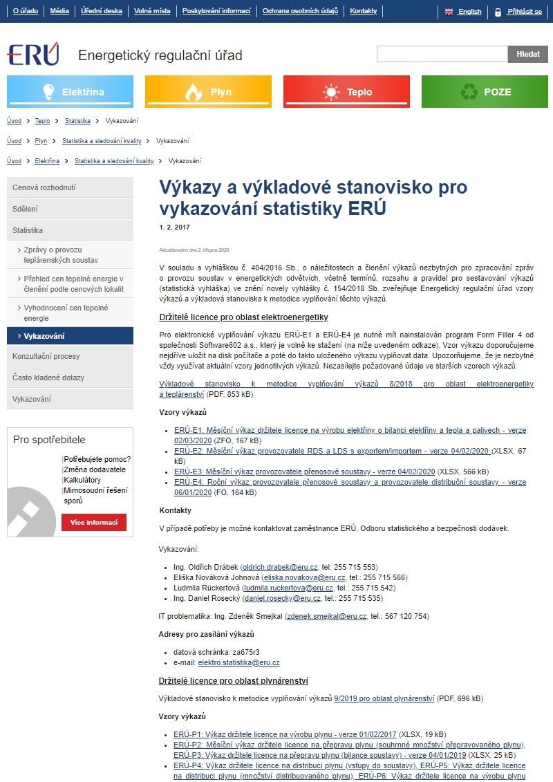 Čtvrtletní výkaz držitele licence na výrobu tepelné energie nebo licence na rozvod tepelné energie o bilanci tepla a palivech v měsíčním členění (ERÚ)