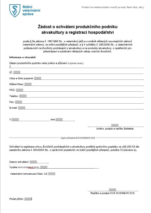 Žádost o schválení produkčního podniku akvakultury a registraci hospodářství – Státní veterinární správa (SVS)