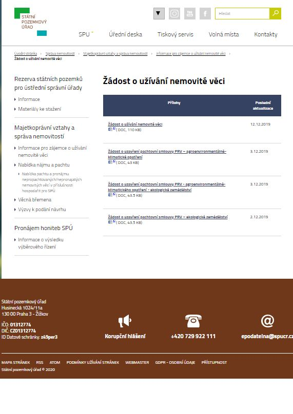Žádost o užívání nemovitosti v hospodaření SPÚ – Státní pozemkový úřad (SPÚ)