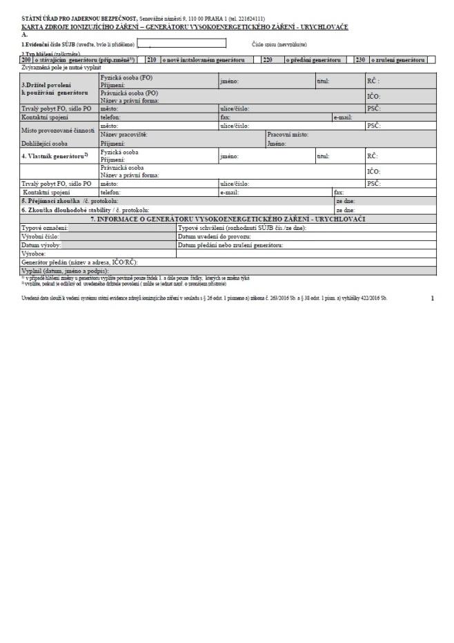 Evidenční list urychlovače (SÚJB)