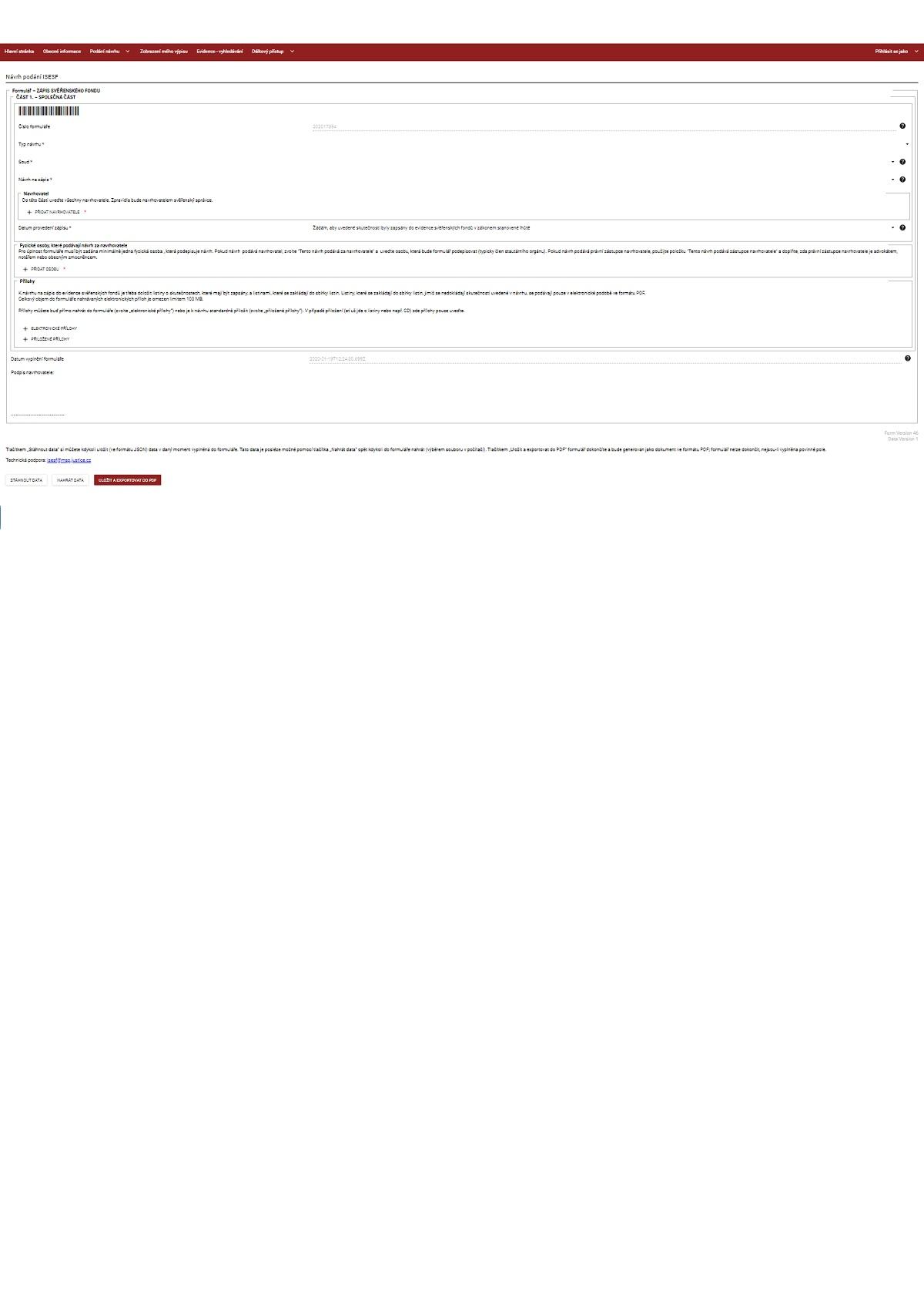 Formulář pro zápis svěřenského fondu do Evidence svěřenských fondů – Ministerstvo spravedlnosti (MS)