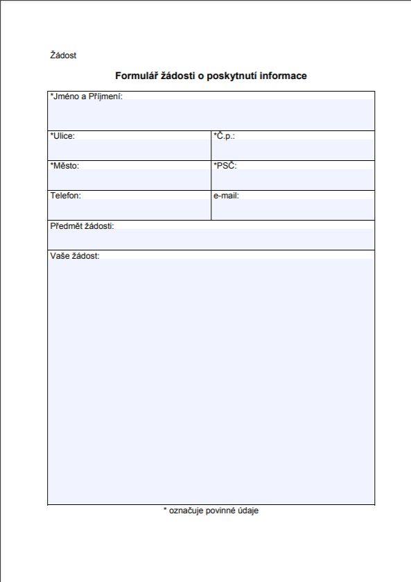 Žádost o poskytnutí informace – Puncovní úřad