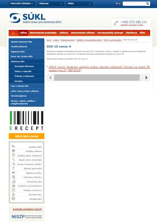Oznámení zahájení distribuční činnosti na území ČR na základě povolení k distribuci léčivých přípravků vydaného jiným členským státem EU (SÚKL)
