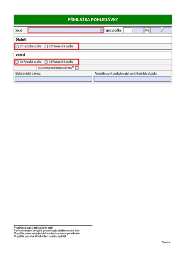 Přihláška pohledávky – Ministerstvo spravedlnosti (MS)