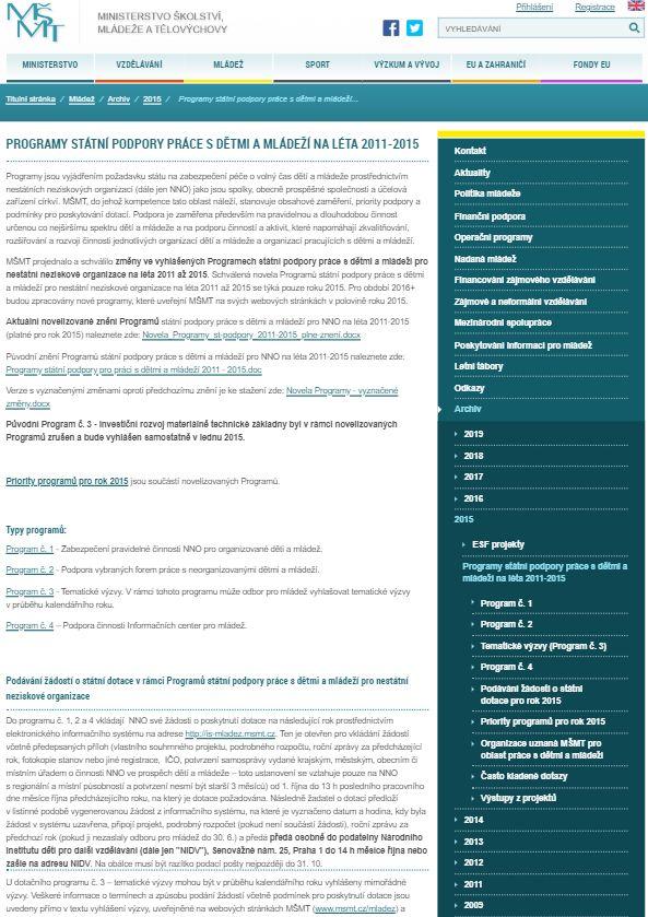 Formuláře pro poskytování dotací v rámci dotačního programu státní podpory mládeže (MŠMT)