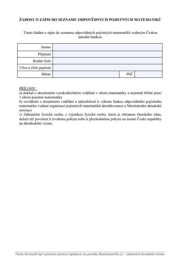 Žádost o zápis do seznamu odpovědných pojistných matematiků – Česká národní banka (ČNB)