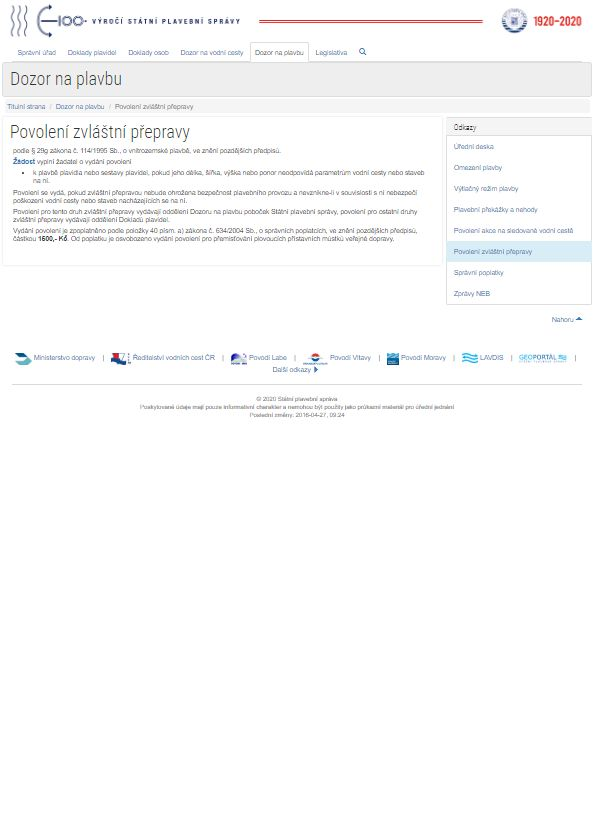 Žádost o vydání povolení pro zvláštní přepravu (SPS)