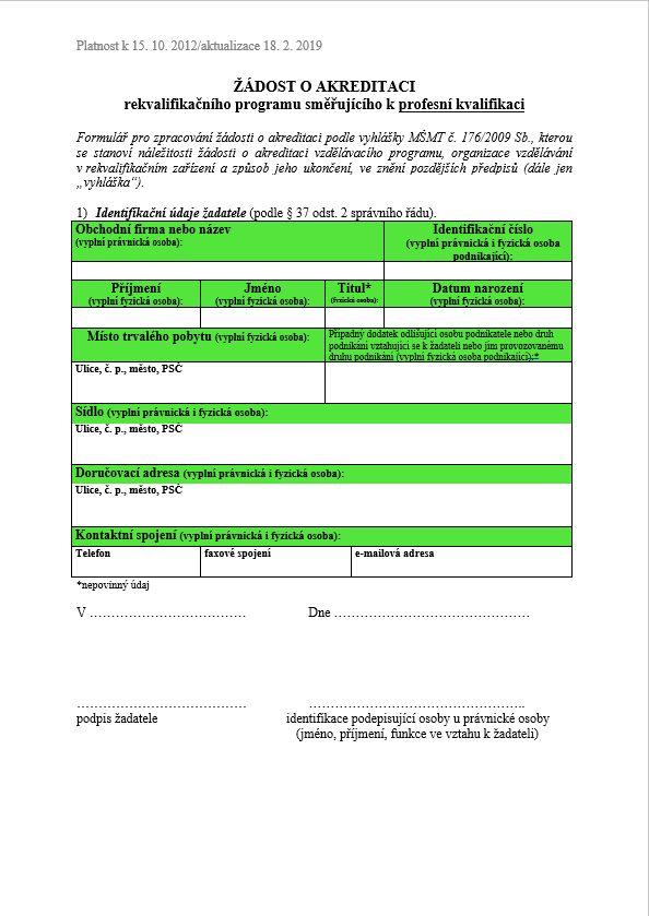 Akreditace vzdělávacího programu