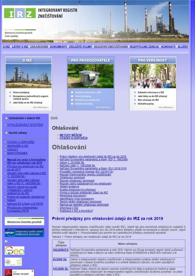 Hlášení do Integrovaného registru znečišťování životního prostředí – Ministerstvo životního prostředí (MŽP)