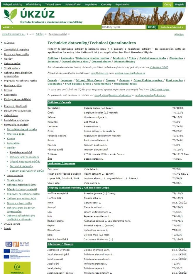 Technický dotazník k žádosti o registraci odrůdy, o udělení ochranných práv k odrůdě (ÚKZÚZ)
