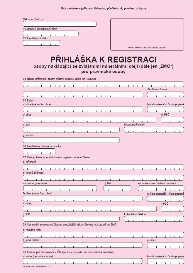 Přihláška k registraci pro právnickou osobu nakládající se zvláštními minerálními oleji (včetně všech příloh)