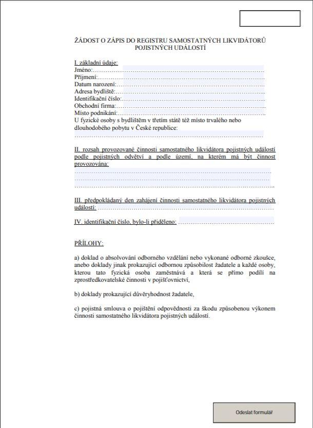 Žádost o zápis do registru samostatných likvidátorů pojistných událostí