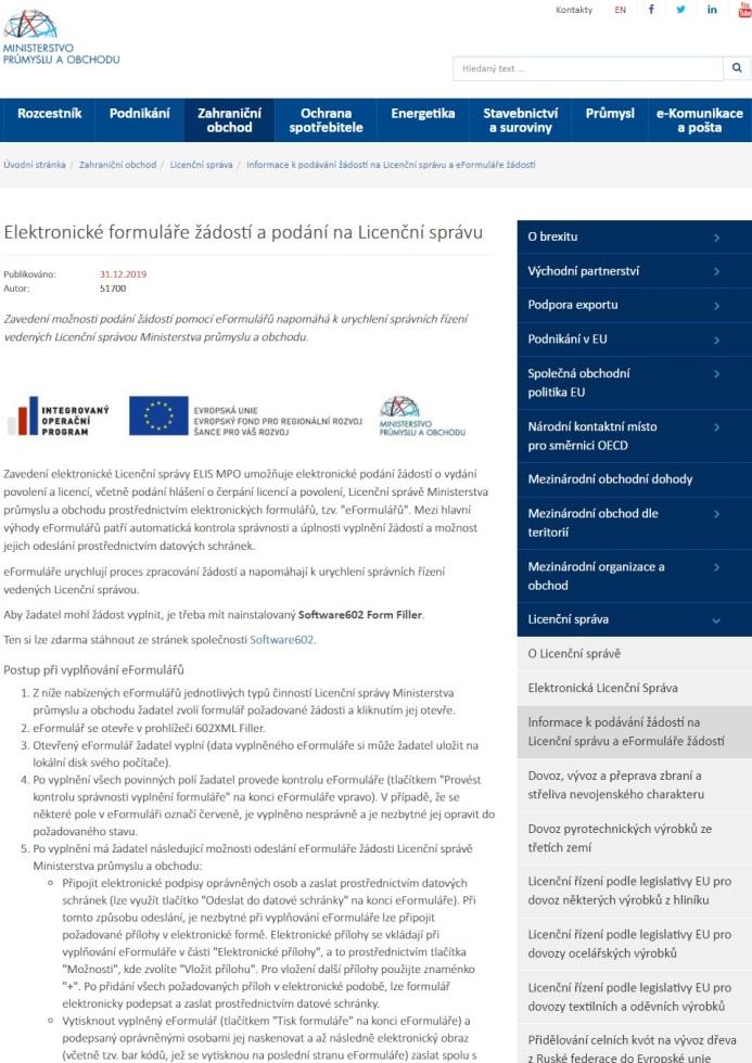 Žádost o udělení licence pro nákup a prodej – zahraniční obchod s vojenským materiálem (mimo území EU) (Licenční správa MPO)
