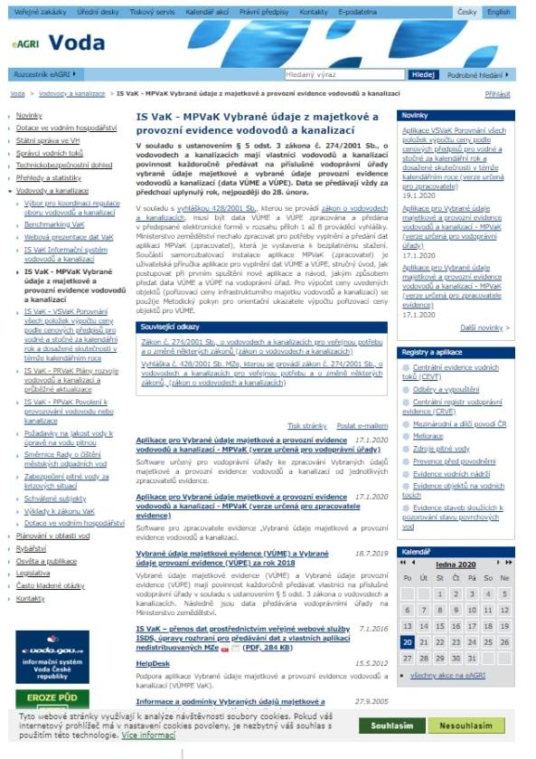 Vybrané údaje z majetkové evidence vodovodů a kanalizací – kanalizační stoky – Ministerstvo zemědělství (MZe)