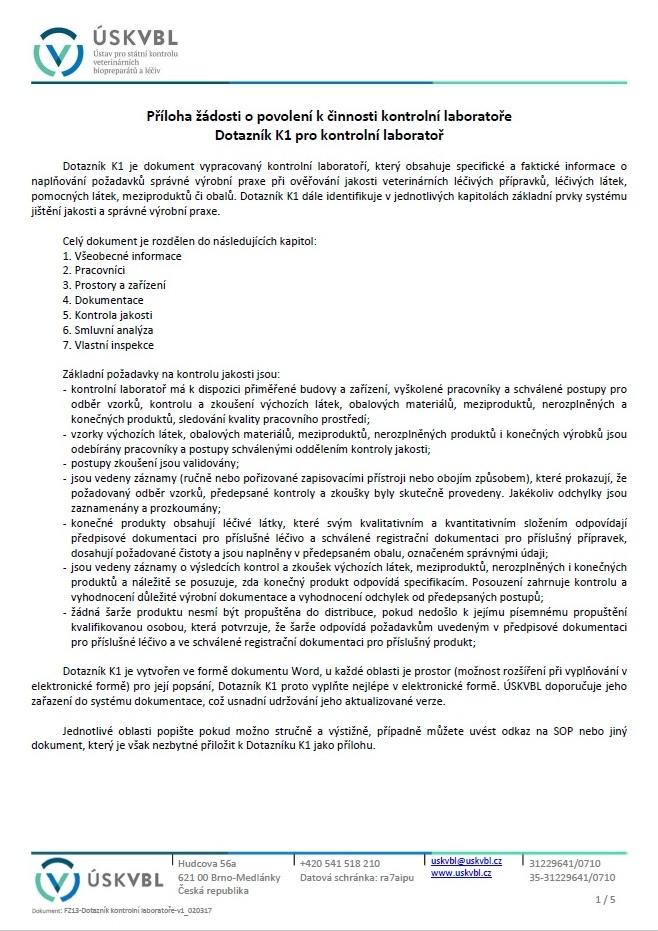 Dotazník kontrolní laboratoře pro zkoušení léčiv – Ústav pro státní kontrolu veterinárních biopreparátů a léčiv (ÚSKVBL)