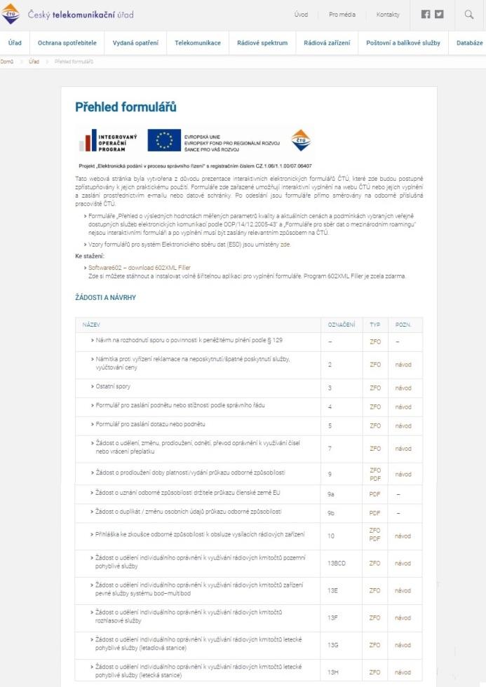 Formulář pro zaslání dotazu nebo podnětu (ČTÚ)