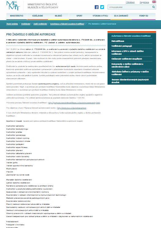 Žádost o udělení autorizace podnikající fyzické osobě (MŠMT)