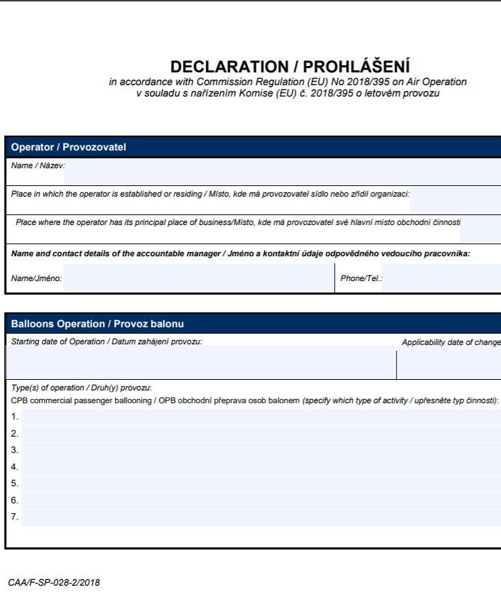Prohlášení balony – Úřad pro civilní letectví ČR (ÚCL ČR)