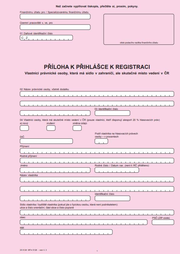 Příloha k přihlášce k registraci – Vlastníci právnické osoby, která má sídlo v zahraničí, ale skutečné místo vedení v ČR