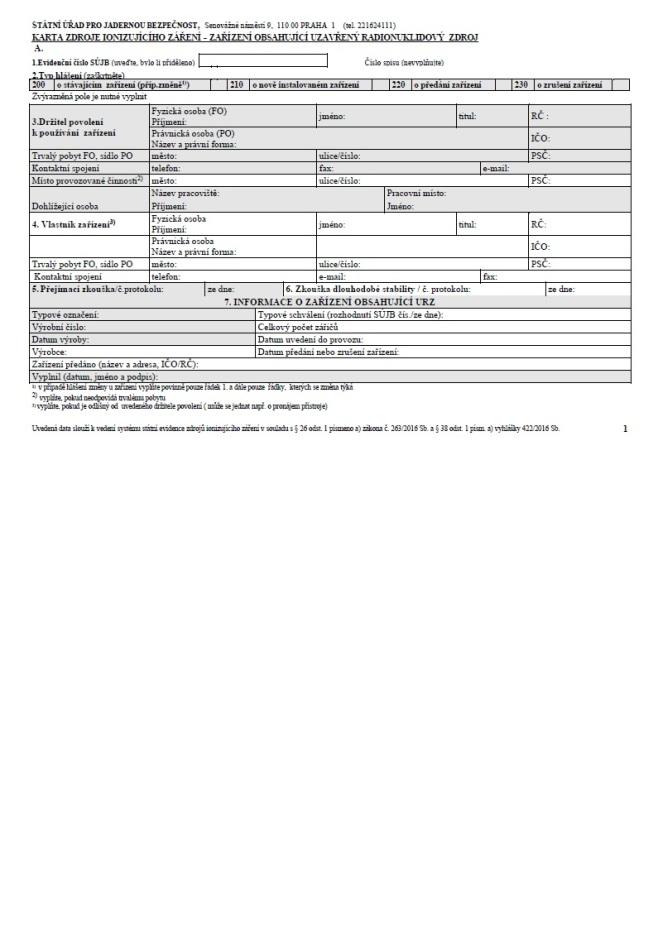 Evidenční list zařízení s uzavřeným radionuklidovým zdrojem (SÚJB)