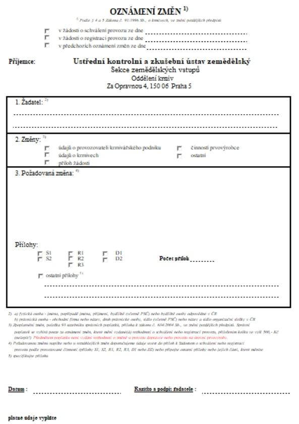 Oznámení změn v žádosti o schválení nebo registraci provozu – Ministerstvo zemědělství (MZe)