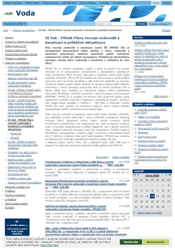 Mapová část k popisům systémů vodovodů a kanalizací obce – Ministerstvo zemědělství (MZe)