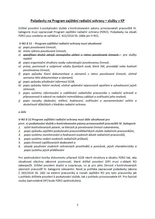 Žádost o povolení k poskytování služeb v kontrolovaném pásmu provozovateli pracoviště IV. kategorie (SÚJB)