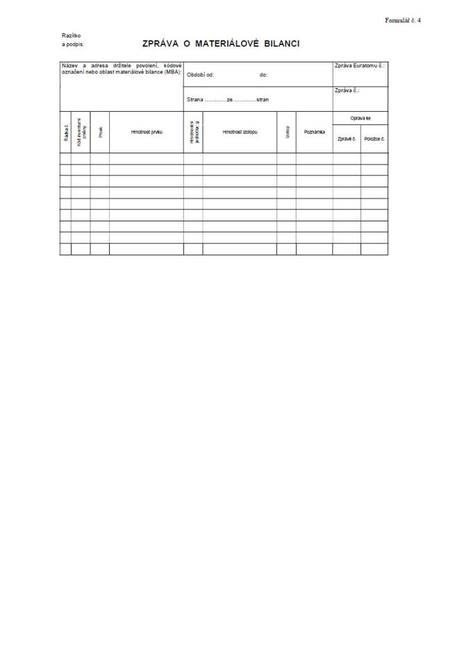 Zpráva o materiálové bilanci jaderných materiálů (SÚJB)