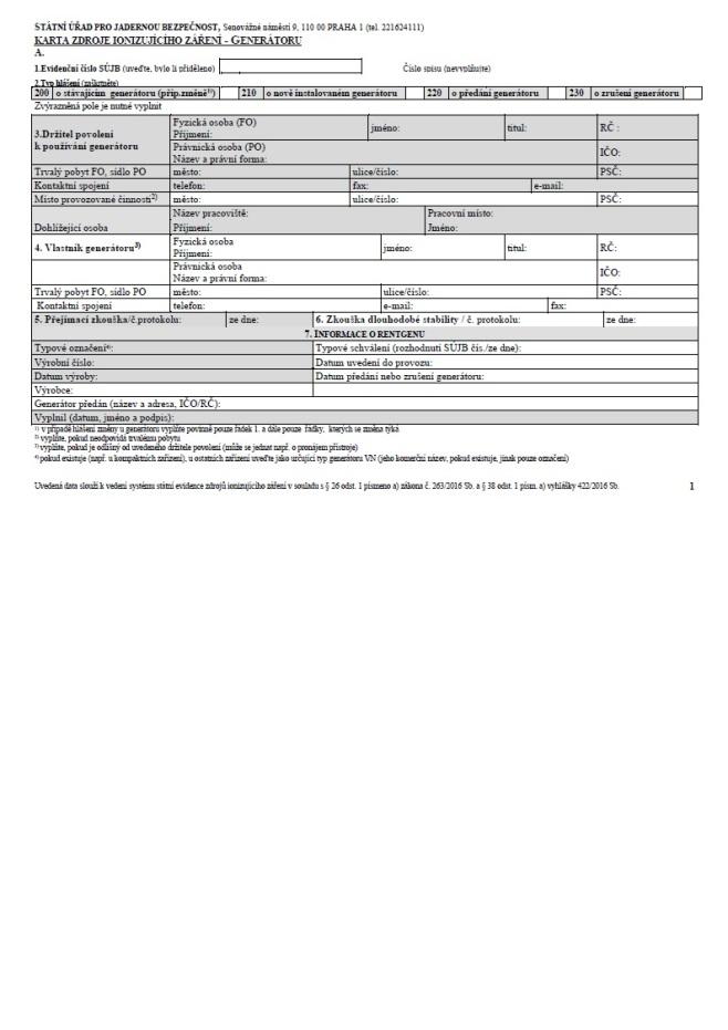 Evidenční list generátoru záření (SÚJB)