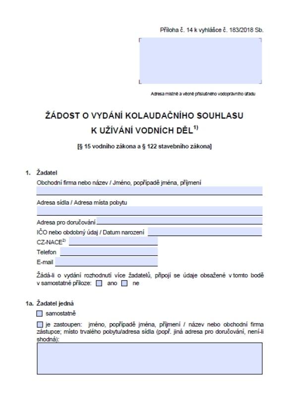 Žádost o vydání kolaudačního souhlasu k užívání vodních děl (MZe)