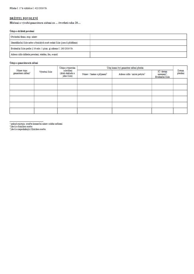 Hlášení o výrobě generátoru záření za čtvrtletí (SÚJB)