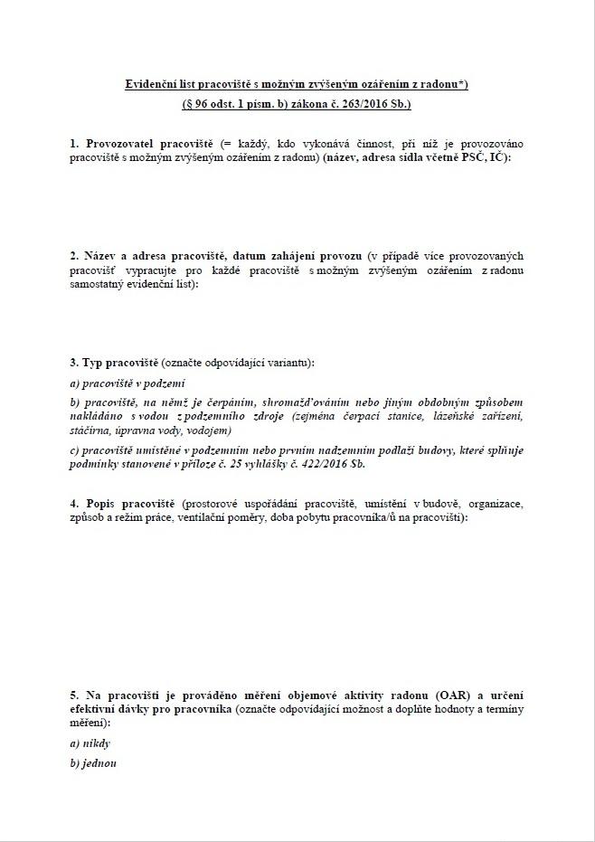 Evidenční list pracoviště s radonem (SÚJB)