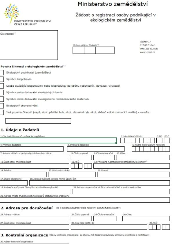 Žádost o registraci osoby podnikající v ekologickém zemědělství