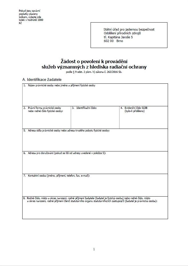 Formulář žádosti o vydání povolení (přírodní zdroje) (SÚJB)