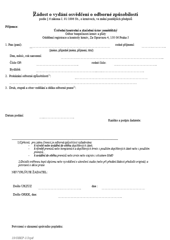 Žádost o vydání osvědčení o odborné způsobilosti (MZe)