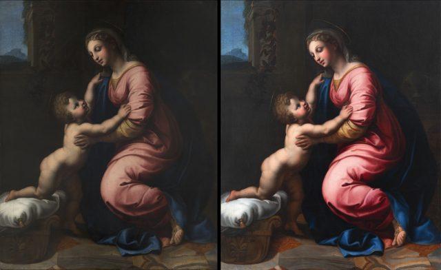 Obraz Rafaella Santiniho před a po restaurování